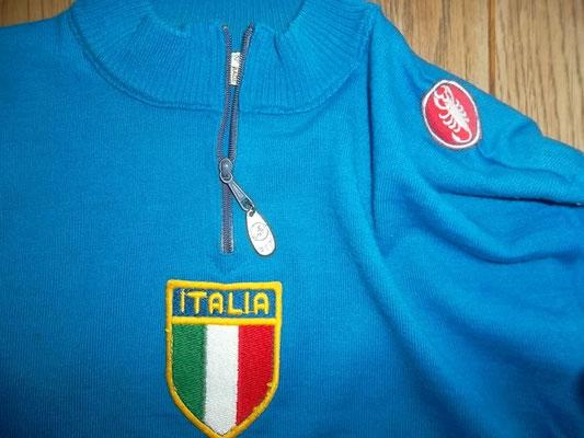 maglia ciclismo vintage lana Castelli, squadra azzurri