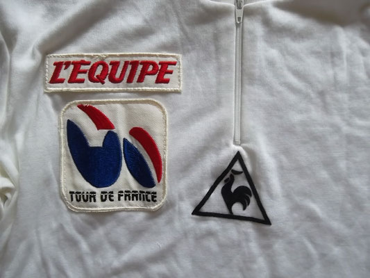 vintage white cycling jersey Tour de France le Coq Sportif