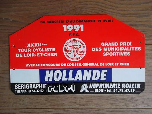 Bprd NL ploegleiderswagen Ronde van Loire et Chere 1991. Dat jaar won de Francse amateur Nicolas Aubier het einklassement. Bord kost bij verkoop 30 euro