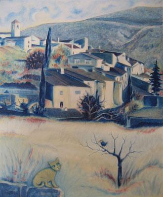Le village bleu, huile, 2014, 38 x 46