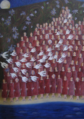 La chorale, huile, 2013, 50 x 60