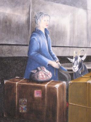 Le départ, huile, 2011, 60 x 60
