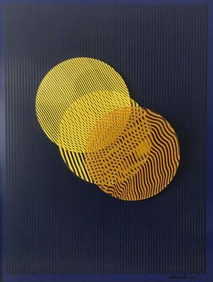 Liliana Iturriaga. Chile, 1965. Superposiciones en tres técnicas, acrílico sobre aluminio y acrílico. 60 x 46 cms. 2016