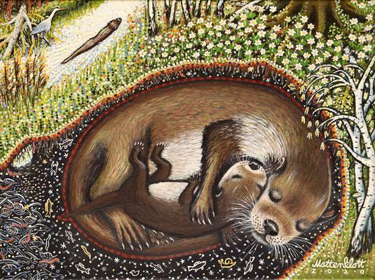 """Anja Mattenklott, """"Otterleben"""", 40 cm x 30 cm, Gouache, Pigmente auf Leinwand, 2020"""