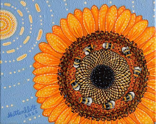 "Anja Mattenklott, ""Sonnentanz"", 30 cm x 24 cm, Gouache, Pigmente auf Leinwand, 2020"