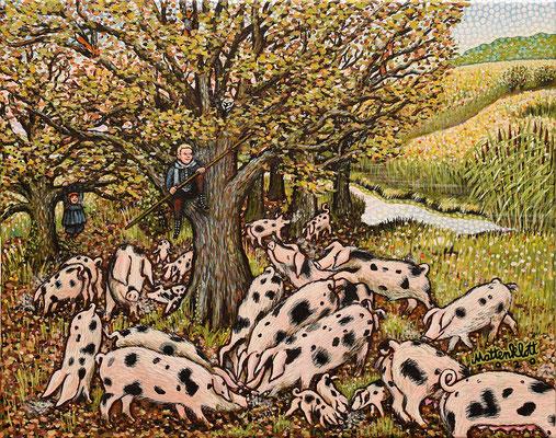 """Anja Mattenklott, """"Waldweidenfreuden"""", 50 cm x 40 cm, Gouache, Pigmente auf Leinwand, 2020"""