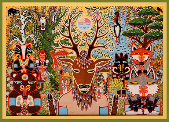 "Anja Mattenklott, ""Gruppenbild mit Hirsch"", 84 cm x 59 cm, Gouache, Pigmente, Buntstift auf Holz, 2020"
