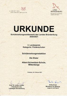 Urkundes des Landespreises Brandenburg | Albert-Schweitzer-Schule Wittenberge