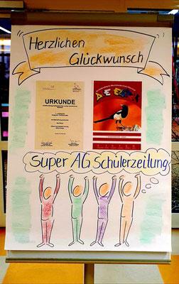 Flipchart im Foyer mit Glückwunsch | Albert-Schweitzer-Schule Wittenberge