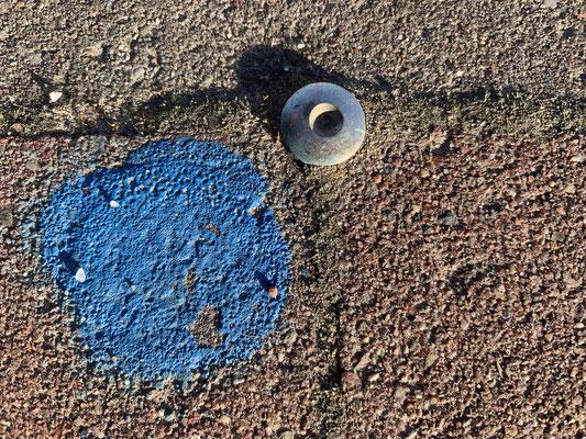 Foto-Safari: gemalter Punkt auf dem Gehweg