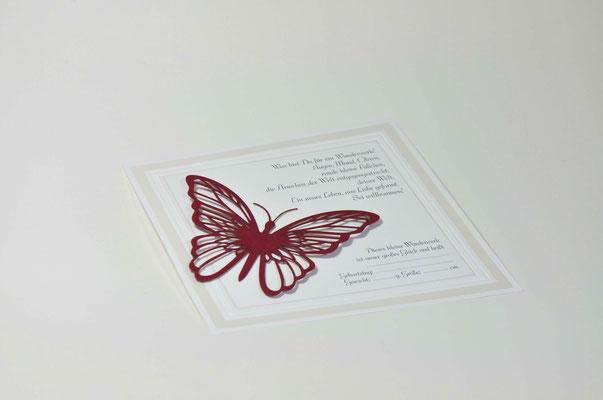 Geburtskarten mit Schmetterling und Briefumschlag 1492-97