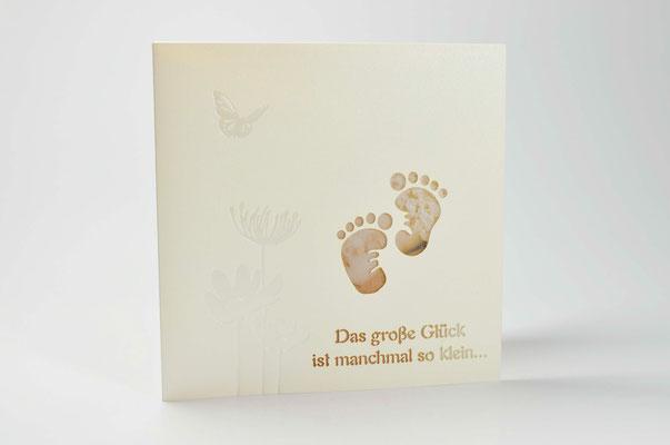 Geburtskarten mit kleine Füße und Briefumschlag 1726-14