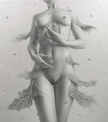 「天と地」/ 53x45.5cm / Pencil, acrylic gouache on paper.