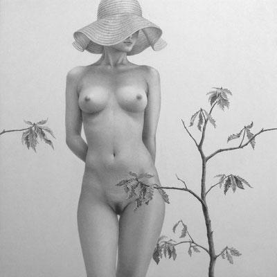 """巡りの庭 / 2015 / pencil on paper / 300×300mm   一つの生態系である""""庭""""で、生と死の循環を見つめる。"""