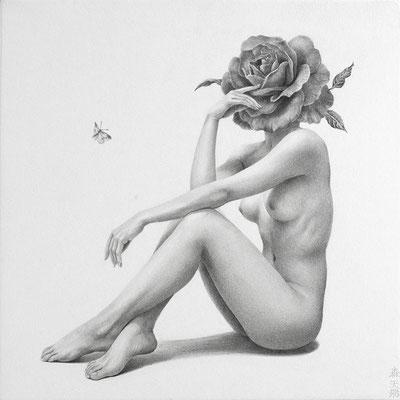「彼女は彼が迎えに来ることを分かっていたが、気付かないふりをした。」/ 180x180mm / Pencil on paper.
