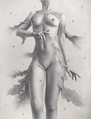 「満ちる 流れる 巡る」/ 65.2x50cm / Pencil, acrylic gouache on paper.