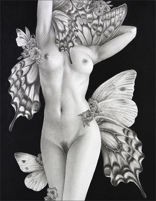「Butterfly dance」/ 180×140mm / 2016 / Pencil and acrylic gouache on paper.