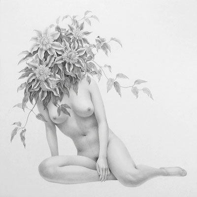 夢想する女 / 2013 / pencil on paper / 333x333mm