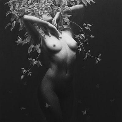 魂の庭で / 2014 / 鉛筆、木炭、ガッシュ、紙 / 300×300mm