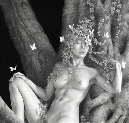 背景の空間は無が広がっていてほしいし、同時に色んなものが満ちていてほしいと思う。その中にぽつんと存在する女は私自身の投影。草樹、花、蝶、鳥、等々。動植物にまみれながら空想する。自分だけの夢を見ている。