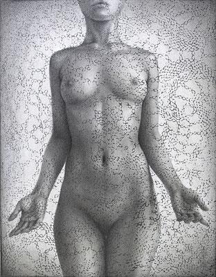 「どうして私が私であると言い切れるだろうか。」/ 18x14cm / Pencil, acrylic gouache on paper.