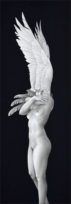 「夜半の鳥」 / 454×158mm / Pencil, acrylic gouache on paper.