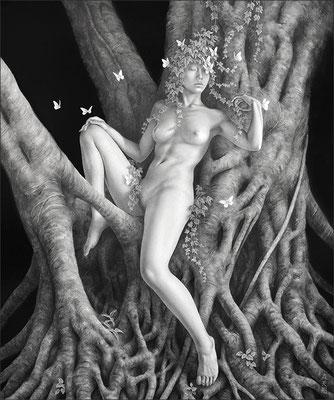 「夢見の森」 / 455×380mm / Pencil, watercolor on paper.