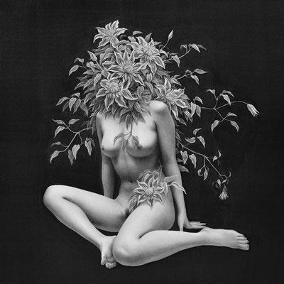 夢想する女ー夜ー・2015・300×300mm・鉛筆、ダーマトグラフ、アクリル絵の具