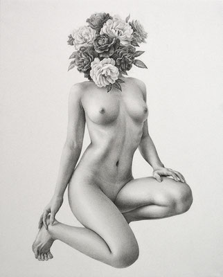 「紅白香気」/ 273×220mm / 2017 / Pencil on paper.