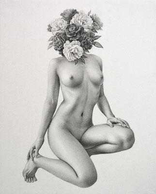 「紅白香気」/ 273×220mm / 2017 / Pencil on paper.