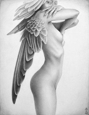 「飛翔」 / 180×140mm / Pencil on paper.