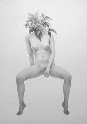 もの想いに耽る女 / 2012 / pencil on paper / 364x257mm