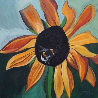 'Sun Buzz' acrylic on canvas 2020, 40 x 40cm - £300