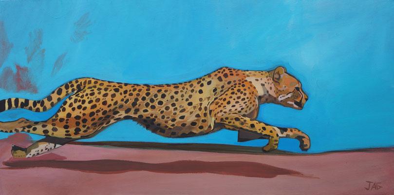 'Hot Pursuit' acrylic on canvas 2020, 100 x 50cm - £700
