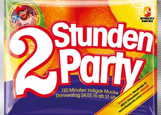"""Flyer für die Partyreihe """"2-Stunden Party"""""""