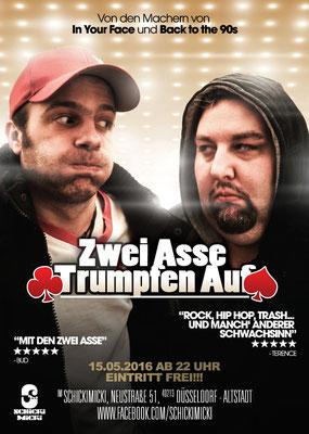 """Flyer für die Partyreihe """"Zwei Asse trumpfen auf"""""""