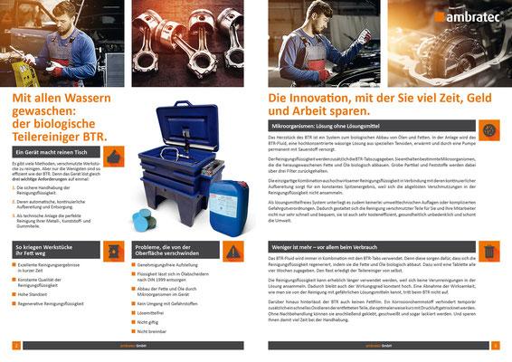Idee und Umsetzung einer Broschüre für den Biologischen Teilereiniger