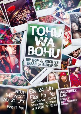 """Flyer für die Partyreihe """"Tohuwabohu"""""""