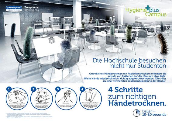 Keyvisual für richitige Handhygiene an Universitäten für Kimberly-Clark Professional - kvell Marketing GmbH