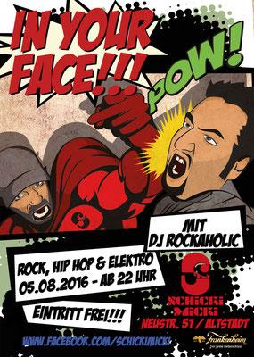 """Flyer für die Partyreihe """"In your face"""""""