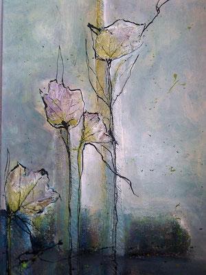 Ötztaler Bergwinter 80x100cm - Acryl,Tusche, Blätter, 2011
