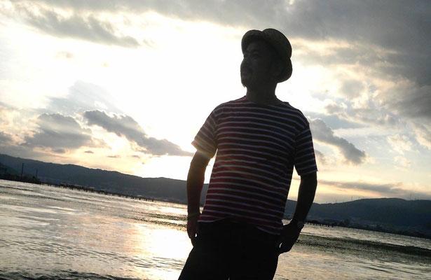 矢野忠 諏訪湖の夕暮れ