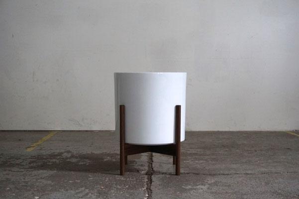 Mid Century Modern Design Planter Plant Stand Walnut White Handmade
