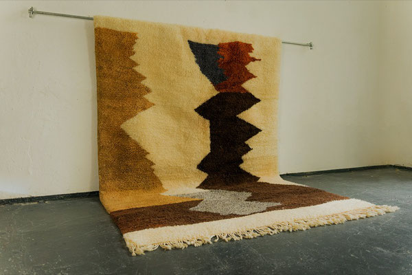 Berber Rug Azilal Teppich White Brown Gold