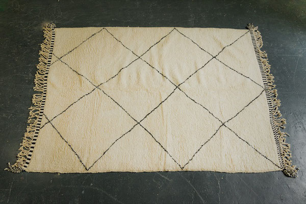 Berber Rug Azilal Teppich White Black Lines