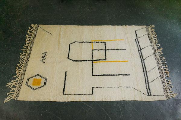 Berber Rug Azilal Teppich White Grey Yellow