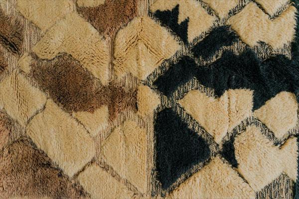 Berber Rug Azilal Teppich Brown Black White