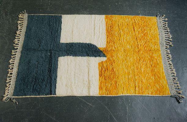 Berber Rug Azilal Teppich Blue White Orange