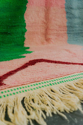 Berber Rug Azilal Teppich Green Pink Red
