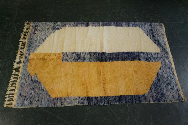 Berber Rug Azilal Teppich Blue White Gold